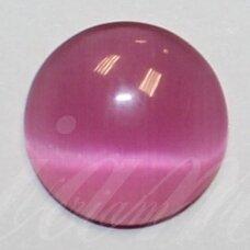 kab-stkat01-disk-08 apie 8 x 2.5 mm, disko forma, ryški, rožinė spalva, katės akies efektas, stiklinis kabošonas, 1 vnt.