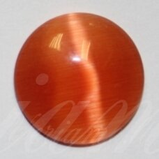kab-stkat02-disk-08 apie 8 x 2.5 mm, disko forma, ryški, oranžinė spalva, katės akies efektas, stiklinis kabošonas, 1 vnt.