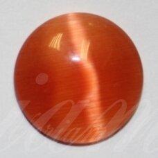 kab-stkat02-disk-12 apie 12 x 3 mm, disko forma, ryški, oranžinė spalva, katės akies efektas, stiklinis kabošonas, 1 vnt.
