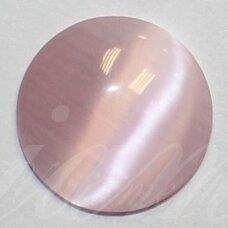kab-stkat03-disk-08 apie 8 x 2.5 mm, disko forma, šviesi, rožinė spalva, katės akies efektas, stiklinis kabošonas, 1 vnt.