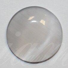 kab-stkat04-disk-12 apie 12 x 3 mm, disko forma, pilka spalva, katės akies efektas, stiklinis kabošonas, 1 vnt.
