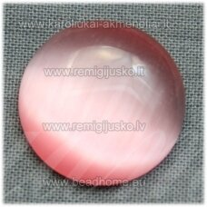 kab-stkat05-disk-08 apie 8 x 2.5 mm, disko forma, rožinė spalva, katės akies efektas, stiklinis kabošonas, 1 vnt.