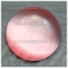 kab-stkat05-disk-12 apie 12 x 3 mm, disko forma, rožinė spalva, katės akies efektas, stiklinis kabošonas, 1 vnt.