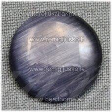 kab-stkat06-disk-18 apie 18 x 4 mm, disko forma, ryški, tamsi, pilka spalva, katės akies efektas, stiklinis kabošonas, 1 vnt.