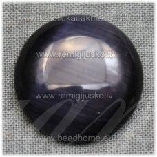 kab-stkat07-disk-12 apie 12 x 3 mm, disko forma, tamsi, juoda spalva, katės akies efektas, stiklinis kabošonas, 1 vnt.