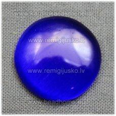 kab-stkat08-disk-08 apie 8 x 2.5 mm, disko forma, ryški, tamsi, mėlyna spalva, katės akies efektas, stiklinis kabošonas, 1 vnt.