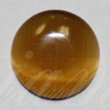 kab-stkat13-disk-12 apie 12 x 3 mm, disko forma, chaki spalva, katės akies efektas, stiklinis kabošonas, 1 vnt.