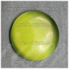 kab-stkat14-disk-08 apie 8 x 2.5 mm, disko forma, salotinė spalva, katės akies efektas, stiklinis kabošonas, 1 vnt.