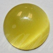 kab-stkat15-disk-12 apie 12 x 3 mm, disko forma, ryški, gelsva spalva, katės akies efektas, stiklinis kabošonas, 1 vnt.