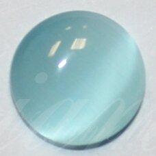 kab-stkat16-disk-08 apie 8 x 2.5 mm, disko forma, šviesi, melsva spalva, katės akies efektas, stiklinis kabošonas, 1 vnt.