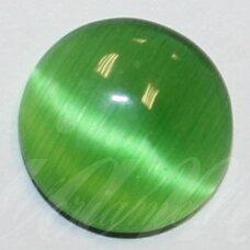 kab-stkat17-disk-12 apie 12 x 3 mm, disko forma, žalia spalva, katės akies efektas, stiklinis kabošonas, 1 vnt.