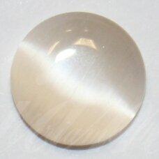 kab-stkat19-disk-08 apie 8 x 2.5 mm, disko forma, šviesi, oranžinė spalva, katės akies efektas, stiklinis kabošonas, 1 vnt.