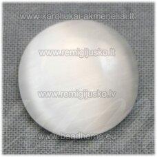 kab-stkat20-disk-08 apie 8 x 2.5 mm, disko forma, balta spalva, katės akies efektas, stiklinis kabošonas, 1 vnt.