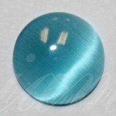 kab-stkat22-disk-12 apie 12 x 3 mm, disko forma, melsva spalva, katės akies efektas, stiklinis kabošonas, 1 vnt.