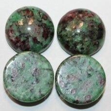 kab-zsr-disk-16 apie 16 mm, disko forma, zoisitas su rubinu, kabošonas, 1 vnt.
