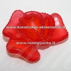 kab0011 apie 39 x 34 x 15 mm, raudona spalva, gėlytės forma, 1 vnt.