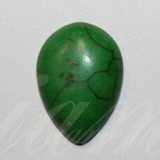 KAB0379 apie 25 x 18 x 6 mm, lašo forma, žalia spalva, akrilinis kabošonas, 1 vnt.