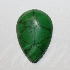KAB0380 apie 29 x 20 x 6.5 mm, lašo forma, žalia spalva, akrilinis kabošonas, 1 vnt.