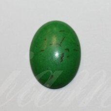 KAB0381 apie 19 x 14 x 5 mm, pailga forma, žalia spalva, akrilinis kabošonas, 1 vnt.