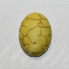 KAB0383 apie 18.5 x 13.5 x 6 mm, pailga forma, geltona spalva, akrilinis kabošonas, 1 vnt.