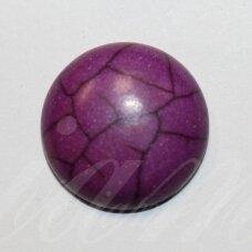 KAB0384 apie 20 x 6 mm, disko forma, violetinė spalva, akrilinis kabošonas, 1 vnt.