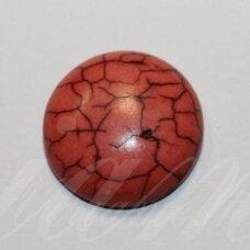 KAB0385 apie 20 x 6.5 mm, disko forma, oranžinė spalva, akrilinis kabošonas, 1 vnt.