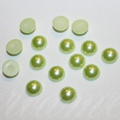 kab-akr12-disk-05.8x3 apie 5.8 x 3 mm, disko forma, žalsva spalva, akrilinis kabošonas, apie 170 vnt.