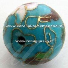 kcl0031-10 apie 10 mm, cloisonne karoliukas, melsva spalva, 6 vnt.