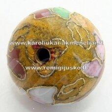 kcl0060-10 apie 10 mm, cloisonne karoliukas, geltona spalva, 6 vnt.