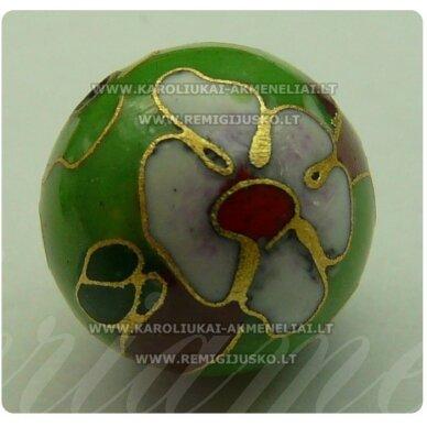 kcl0027 apie 8 mm, cloisonne karoliukas, šviesi, žalia spalva, 1 vnt.