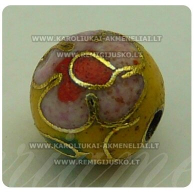 kcl0064 about 8 mm, cloisonne beads, yellow color, 1 pc.