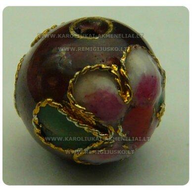 kcl0069 apie 10 mm, cloisonne karoliukas, vyšninė spalva, 1 vnt.