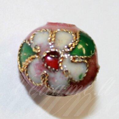 kcl0073 apie 9 x 10 mm, rožinė spalva, cloisonne karoliukas, 1 vnt.