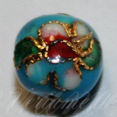 kcl0074 about 9 x 10 mm, light blue color, cloisonne beads, 1 pc.