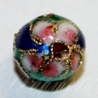 kcl0078 about 9 x 10 mm, green color, cloisonne beads, 1 pc.