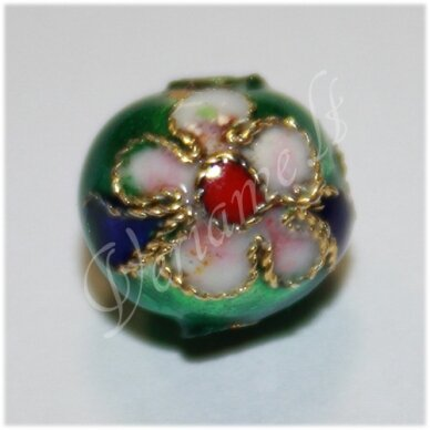 kcl0130.1 about 7 mm, round shape, green color, cloisonne beads, 1 pc.