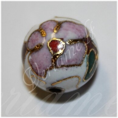 kcl0131 about 6 mm, round shape, white color, cloisonne beads, 1 pc.