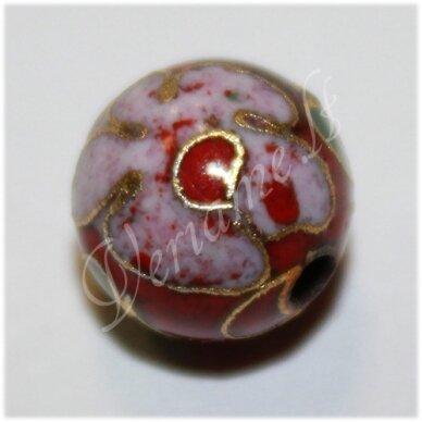 KCL0132 apie 6 mm, apvali forma, raudona spalva, marga, cloisonne karoliukas, 1 vnt.