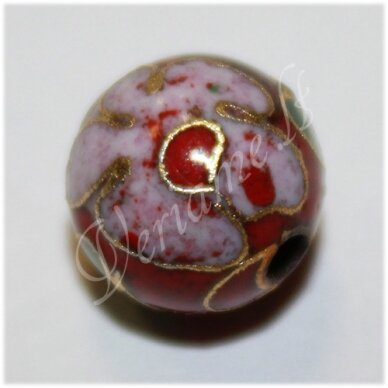 kcl0132 about 6 mm, round shape, red color, colourful, cloisonne beads, 1 pc.