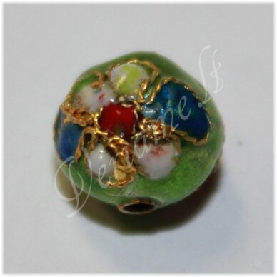 kcl0134 about 10 mm, round shape, light green color, cloisonne beads, 1 pc.