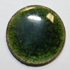 KE0011 apie 20 mm, žalia spalva, keramikinis kabošonas, 1 vnt.