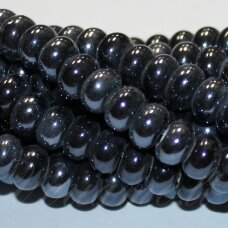 ker0001-ron-05x8 (a35) apie 5 x 8 mm, rondelės forma, tamsi, hematito spalva, keramikiniai karoliukai, 1 vnt.