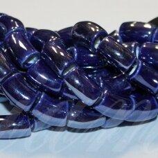ker0002-lcil-14x8 apie 14 x 8 mm, skylė 5 mm, lenkto cilindro forma, tamsi, mėlyna spalva, keramikiniai karoliukai, 1 vnt.
