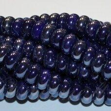ker0002-ron-05x10 apie 5 x 10 mm, rondelės forma, tamsi, mėlyna spalva, keramikiniai karoliukai, 1 vnt.