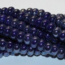 ker0002-ron-05x8 apie 5 x 8 mm, rondelės forma, tamsi, mėlyna spalva, keramikiniai karoliukai, 1 vnt.