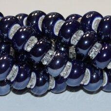 ker0002-ron-07x13 apie 7 x 13 mm, skylė 6 mm, rondelės forma, tamsi, mėlyna spalva, keramikiniai karoliukai, 1 vnt.