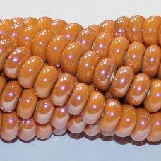 ker0003-ron-05x10 (a12) apie 5 x 10 mm, rondelės forma, oranžinė spalva, keramikiniai karoliukai, 1 vnt.
