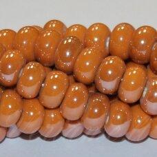 ker0003-ron-05x8 (a12) apie 5 x 8 mm, rondelės forma, oranžinė spalva, keramikiniai karoliukai, 1 vnt.