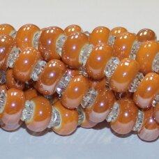 KER0003-RON-07x13 apie 7 x 13 mm, skylių,6 mm, rondelės forma, oranžinė spalva, keramikiniai karoliukai, 1 vnt.