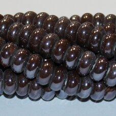 ker0004-ron-05x10 apie 5 x 10 mm, rondelės forma, ruda spalva, keramikiniai karoliukai, 1 vnt.